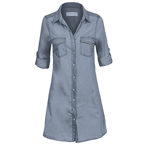 Women's Casual Button Down Roll Up Sleeve Cotton Denim Pocket Fitted Tunic Top