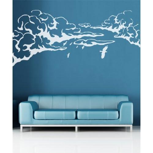 Vinyl Wall Decal Sticker Flying Birds over Clouds GFoster146B