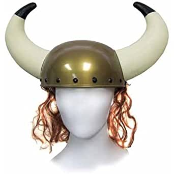 Jacobson Hat Company Men's Viking Helmet with Horns and Hair