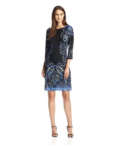 London Times Women's Cropped Sleeve Printed Shift Dress
