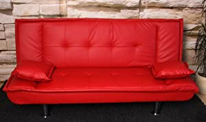 Schlafsofa schlafcouch lounge sofa couch m48 kunstleder for Schlafcouch rot