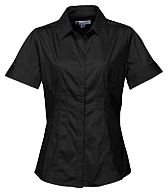 Tri-mountain Womens 96% Cotton 4% Spandex Solid Satin Woven Shirts. LB755 - BLACK_XS