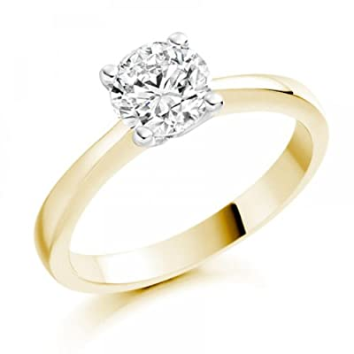 1/2 Carat F/SI1 Round Brilliant Certified Diamond Solitaire Engagement Ring in 18k Yellow Gold