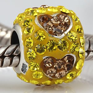 Love Hearts With Two Tones Yellow And Brown Austrian Crystal Bead Authentic 925 Sterling Silver Bead Fits Pandora Chamilia Biagi Troll Charms Europen Style Bracelets