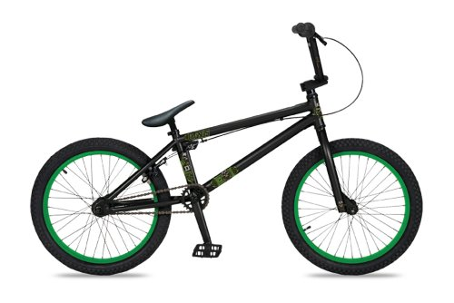 Dk Cygnus Bmx Bike With Green Rims (Black, 20-Inch)