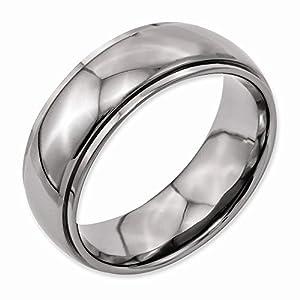 Titanium Ridged Edge 8mm Polished Wedding Band Ring, Jewelry Rings For