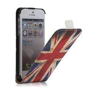 Jahrgang Union Jack Leder Aufklappbare Tasche Hülle Apple iPhone 5 / 5G / 5S - Flip Case Cover