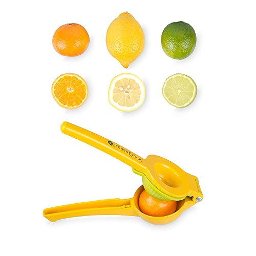 StarForest Enameled Aluminum Lemon Lime Orange Manual Squeezer - Durable Citrus Press- Unique 2 Bowls Built In 1 Hand Citrus Press Juicer