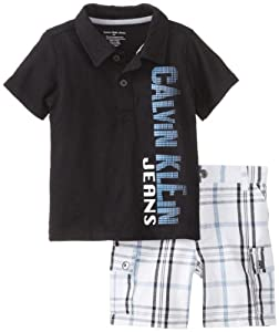 Calvin Klein Baby-Boys Infant Polo with Plaided Cargo Short from Calvin Klein