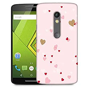 Snoogg Heart Pattern Pink Designer Protective Phone Back Case Cover For Moto G 3rd Generation