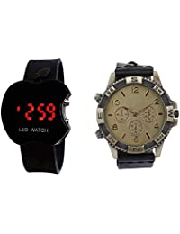 COSMIC BLACK ANALOG MAN WATCH WITH FREE BLACK APPLE LED