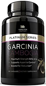 90% HCA EXTREME GARCINIA CAMBOGIA - 100% Pure Extract for Maximum Weight Loss -- All Natural Appetite Suppressant Formula with Potassium - NO CALCIUM - 90 Count Quality Veggie Capsules - Platinum Series Manufactured in an FDA Approved GMP Certified Laboratory Exclusively for Hamilton Healthcare