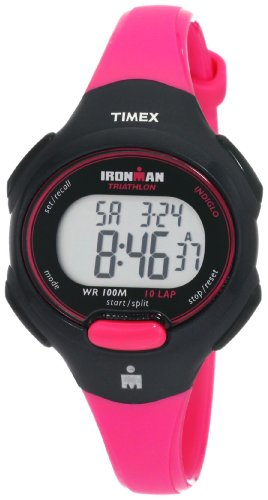 Timex Women's T5K525 Ironman Traditional 10-Lap Bright Pink/Black Resin Strap Watch
