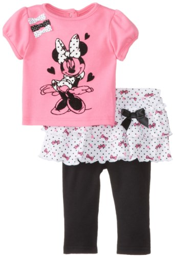 Disney Baby Baby-Girls Newborn Sugar Plum 2 Piece Minnie Mouse Skegging Set With Ruffles And Bows, Sugar Plum/Black, 0-3 Months front-404103