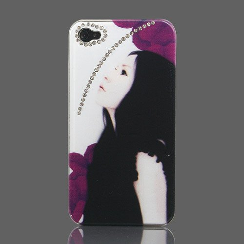 ZuGadgets Fashion Girl Sparkling Rhinestone Hard Case Cover for iPhone 4 / 4S + Free Screen Protector and Charge USB Cable (7378 1)