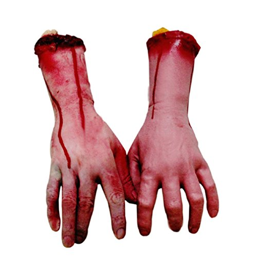 1 Pair Bloody Severed Fake Arms Hands Terror Halloween Toys for Festival and Cosplay (Life Size Severed Hand)