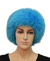 Fox Fur Headband - Blue
