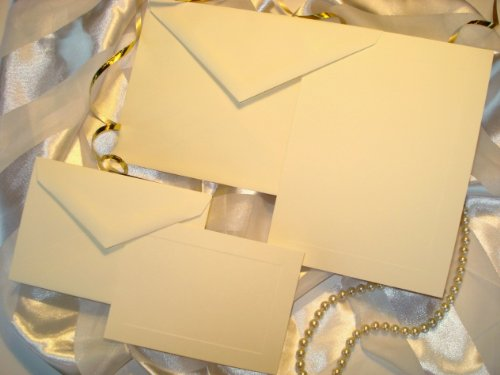50 Set Wedding or Party Invitation Kit, Blank, with Panel Card, Response Cards & Envelopes. Printable Do It Yourself Wedding Invitations. IVORY, High Quality Cards with Raised Panel Edging.