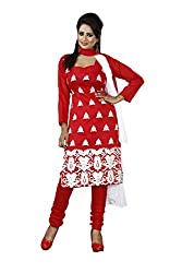 Khazana Women's Chanderi Unstitched Dress Material (khazana-75-ch-08_Red _Free Size)