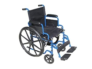 Drive Medical Blue Streak Wheelchair with Flip Back Detachable Desk Arms and Swing-away Foot Rest, Blue, 18""
