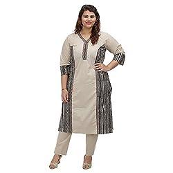 Damyantii Women Plus Size Straight Beige Cotton Kurta