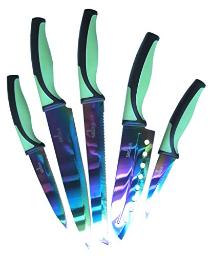 Find Cheap SiliSlick Titanium Coated Stainless Steel 5pc Kitchen Set of Rainbow Knives, Green-black....