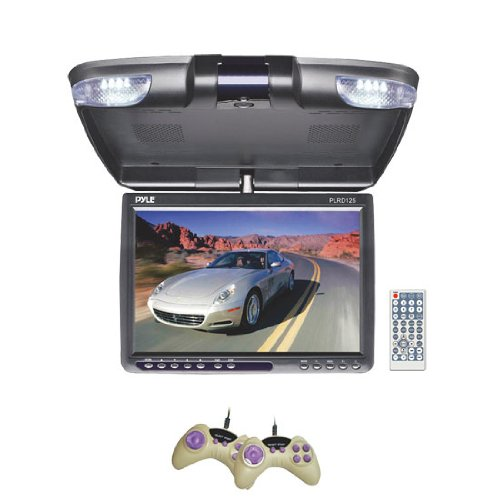 Pyle Plrd125 12.1-Inch Tft Lcd Flip-Down Roof Mount Built-In Dvd Player With Fm Modulator/Ir Transmitter