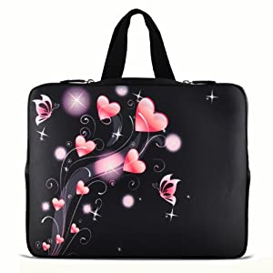 """11.6"""" 12.1"""" 12.2"""" inch Notebook Carrying bag Laptop Sleeve Case with Hide Handle for Samsung Chromebook/Samsung Galaxy Tab Pro 12.2/DELL Latitude E6230 XT2 XPS Duo/ASUS B23 /HP 4230S 2560P/TOSHIBA U920T/intel Letexo - Pink Heart N12-19213"""