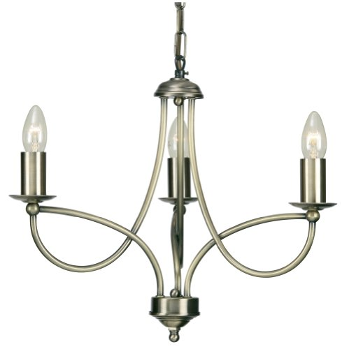 Loop 3 Light Ceiling  Fitting  Antique Brass Finish