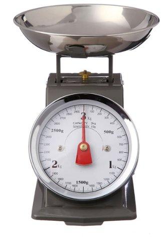 Balance de cuisine mécanique - Effet vintage avec bol amovible - Grise - Jusqu'à 3 kg