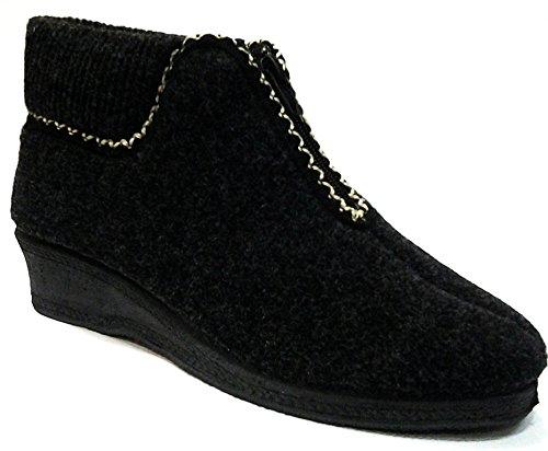DAVEMA pantofole a stivaletto lana invernali da donna mod.588 grigio (36)