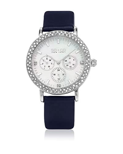 SO & CO New York Reloj con movimiento cuarzo japonés Mother of Pearl and Crystal 38 mm