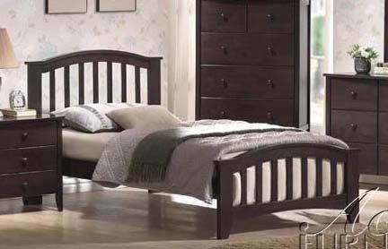 Full Size Bed with Slat Design in Dark Walnut Finish