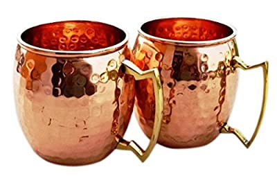 Hammered Copper Moscow Mule Mug Handmade of 100% Pure Copper, Brass Handle Hammered Moscow Mule Mug / Cup 16 Ounce,set Of-2, by CGP from CGP