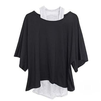 Daditong Femme 2 en 1 Tops Débardeur Basique + T-Shirt Pull en Jersey EU Taille 36-44 (L, Noir)