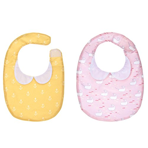 Reversible Bib Baby 2 Piece Gift Set: Pink Whale and Yellow Anchor Print with Scalloped Collar