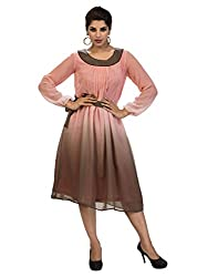 Surat Tex Pink & Brown Color Printed Georgette Stitched Dress-I225DS118M