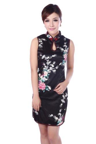 JTC Chic Peacock Flower Cheongsam Chinese Short Dress Women's Silk Qipao (UK10-12, Black)