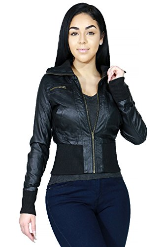 Fashionable Faux Leather Hoodie Bomber Outerwear Jacket ...