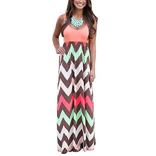 Yidarton Womens Wave Striped Summer Beach Dress Party Long Maxi Dresses Rose Large