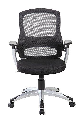 EuroStile Fashionable Mid Back Office Chair, Mesh Computer Chair 8097 (Black ) Gas Arm Leg