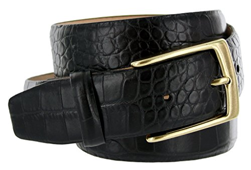Joseph Gold Buckle Italian Leather Alligator Embossed Designer Dress Belt (Black, 36) (Alligator Belt Black compare prices)