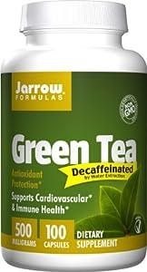 Jarrow Formulas Green Tea Decaffeinated, 500 mg, 100 Veggie Caps