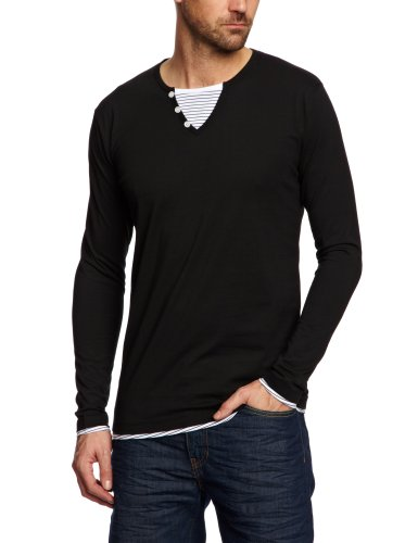 Selected Homme Fuel Stripe Long Sleeve Double Layer C Men's T-Shirt Black Small