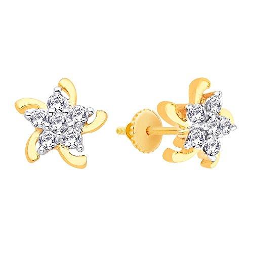 Asmi Asmi 18K Yellow Gold Stud Earrings For Women (Multicolor)