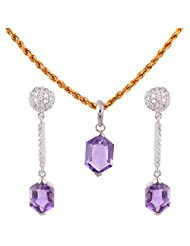 Mariya Impex Classic Collection Silver Pendant Necklace Set For Women - B00YHWOIDW