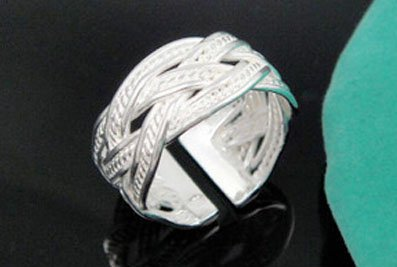 .925 Sterling Silver Celtic Tribal Rope Design Adjustable Ring Band for Her