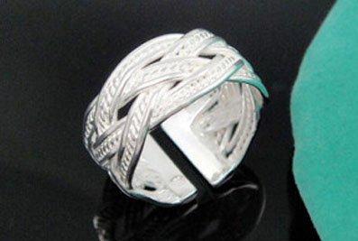 .925 Sterling Silver Celtic Tribal Rope Design Adjustable Ring Band for Her