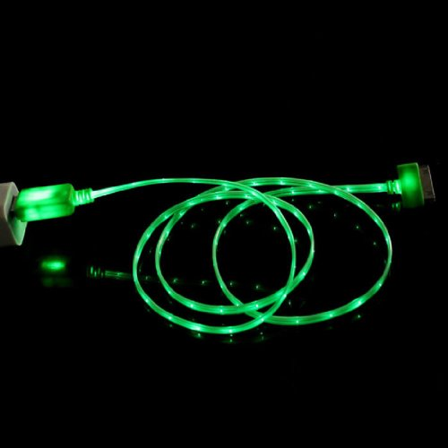 Sannysis 1Pc Useful Cool Visible Color Led Usb Sync Data Charger Cable For Iphone 4G 4S Ipad 2 3 (Green)