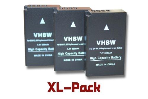 3 x vhbw Akku Set 850mAh (7.4V) für Kamera Nikon Nikon 1, 1 J1, 1 J2, 1 J3, 1 S1, 1 AW1, 1 V3, CoolPix A wie EN-EL20, EN-EL20a.